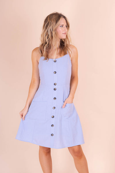 Cute Light Blue Cotton Dress- Women's Cotton Summer Dress- $35- Juliana's Boutique