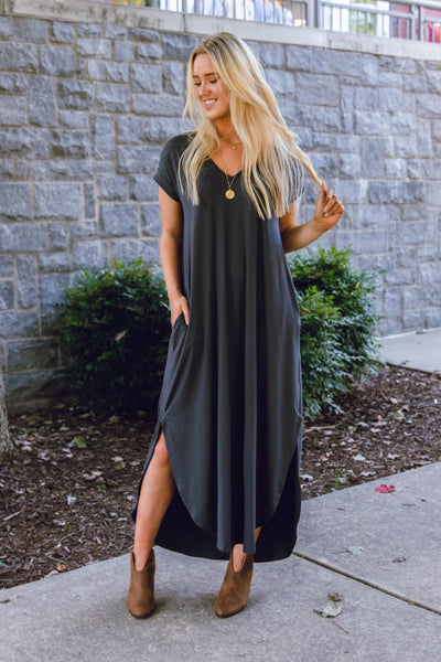 Casual Charcoal Grey Maxi Dress- Trendy T-Shirt Maxi Dress- Jersey Knit Maxi- $32