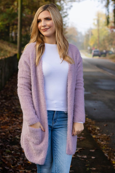 Love You More Than Coffee Cardigan-Lavender