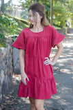 Rust Corduroy Babydoll Dress- Women's Rust Corduroy Dress- $44