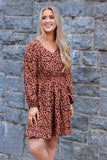 Women's Animal Print Dress- Long Sleeve Cheetah Print Dress- $45