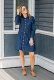 Cute Baby Doll Dress- Women's Denim Dress- Cute Chambray Dress- $44- Juliana's Boutique