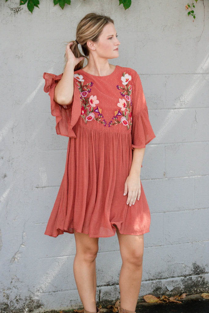 Cute Embroidered Tunic- Rust Orange Dress- $40- Women's Cute And Affordable Online Boutique- $38