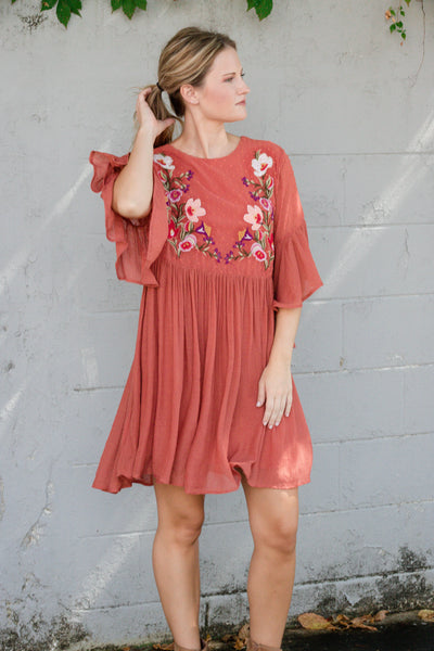 Cute Embroidered Tunic- Rust Orange Dress- $40- Women's Cute And Affordable Online Boutique