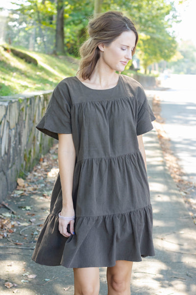Olive Green Corduroy Babydoll Dress- Women's Olive Corduroy Dress- $44