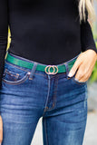 Chic Snakeskin Belt- Green Snakeskin Belt- Designer Dupe Belts- $12