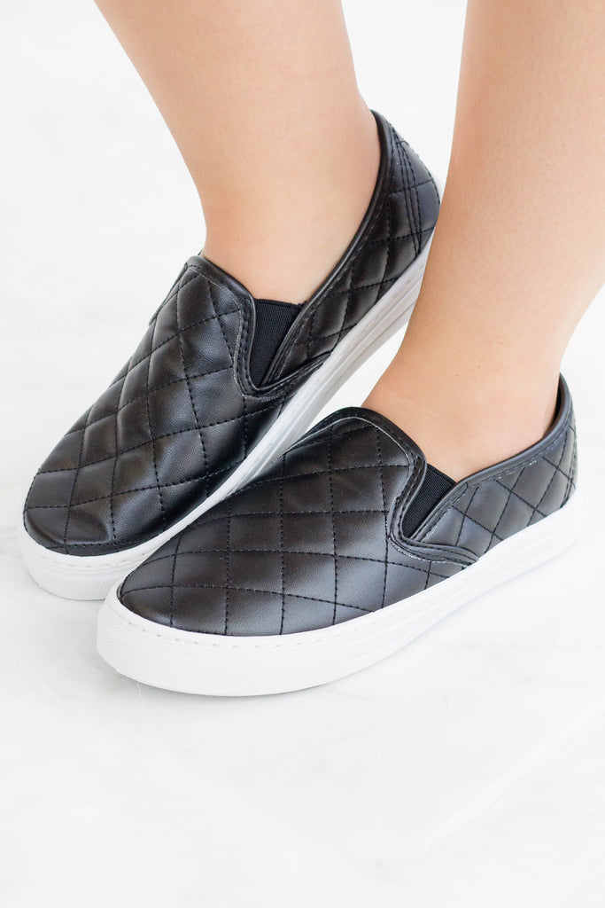 Women's Black Quilted Slip Ons- Faux