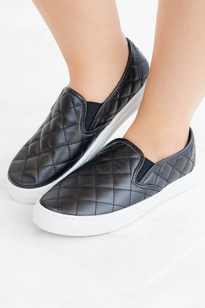 Women's Black Quilted Slip Ons- Faux Leather Sneakers- $28