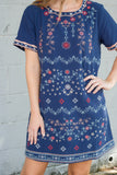 Navy Blue Shift Dress- Blue Embroidered Dress- $40- Juliana's Boutique