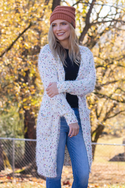 Ivory Popcorn Cardigan- Confetti Cardigan- Colorful Fall Cardigan- $52