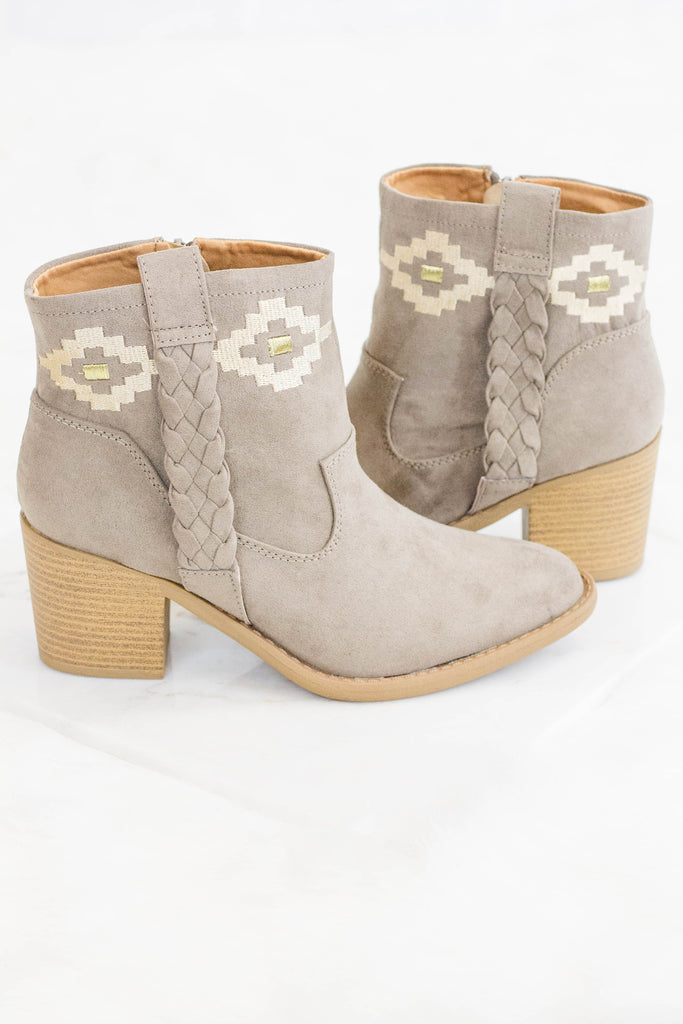 Women's Aztec Ankle Booties- Taupe Booties- $45