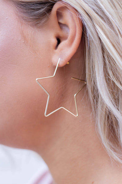 Be A Star Earrings-Gold