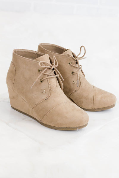 Women's Wedge Ankle Booties- Faux Suede Taupe Booties- $38