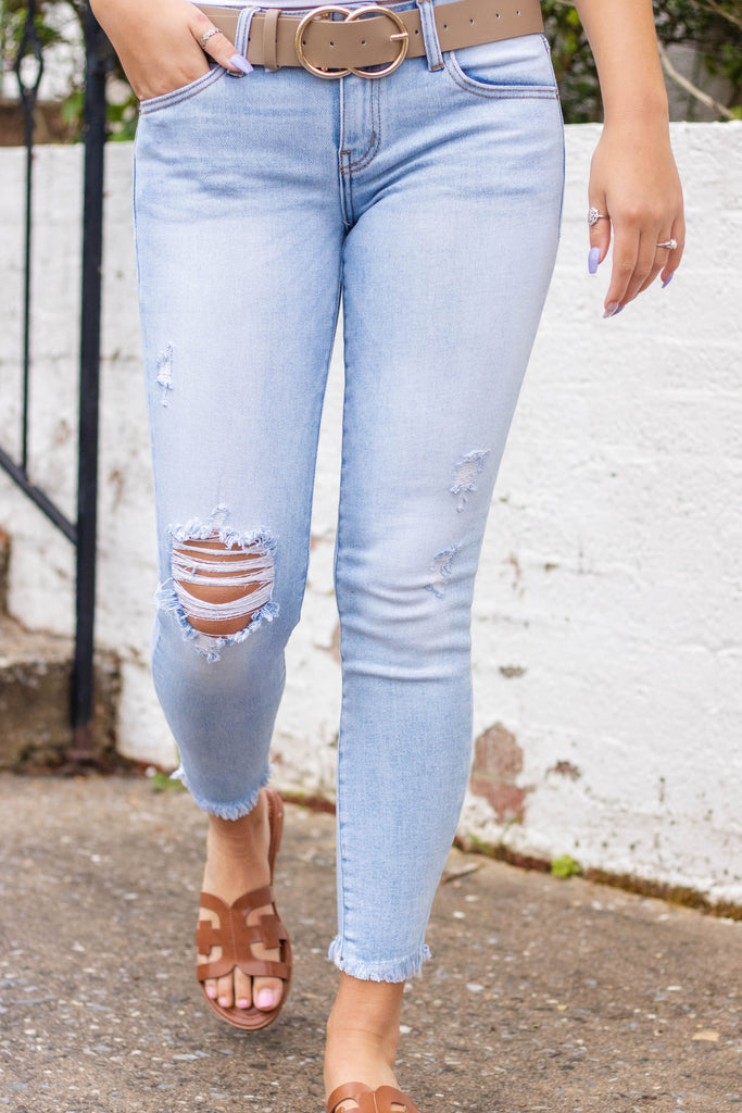Light Wash Distressed Denim- KanCan Skinny Jeans- Light Wash KanCan Jeans- $44