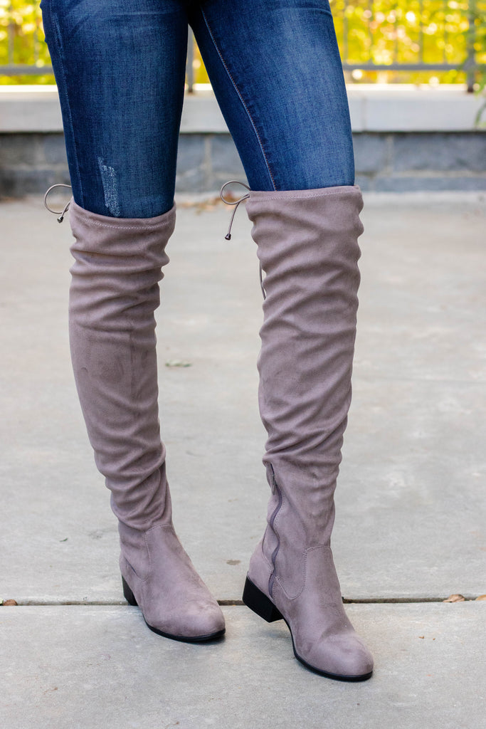 Charcoal Over The Knee Boots- Faux Suede Over The Knee Boots- $45