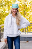 Warming Up To It Sherpa Hoodie-Light Grey