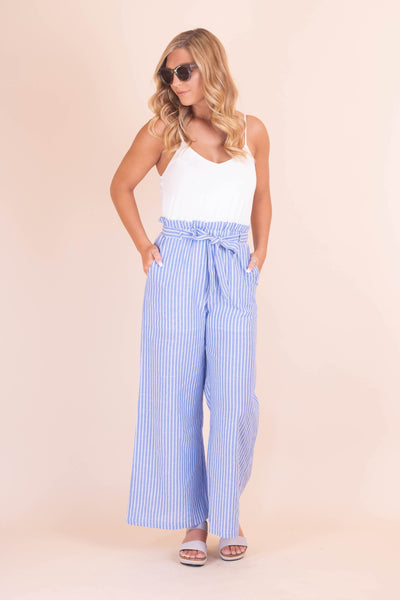 Chic And Trendy Jumpsuit- Women's Blue And White Striped Jumpsuit- $42- Affordable Online Boutique