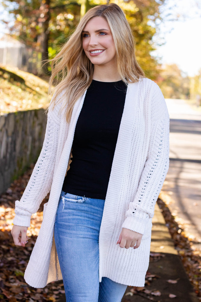 Ultra Soft Knit Cardigan- Women's Super Soft Cardigan- Ivory Knit Cardigan- $36