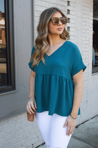 Women's Teal Babydoll Blouse- Women's V-Neck Blouse- $32