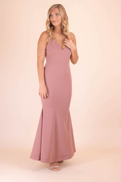 Sexy Mauve Maxi Dress- Women's Fitted Mermaid Dress- Women's Formal Cocktail Dresses- $36- Juliana's Boutique