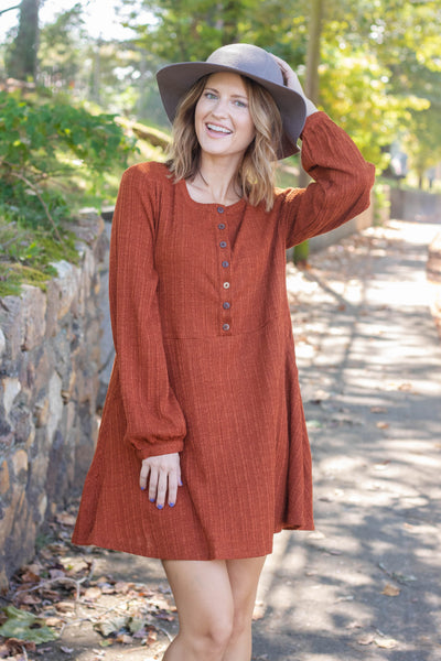 Darling Women's Fall Dress- Rust Orange Long Sleeve Dress- $44- Blogger Style Dresses