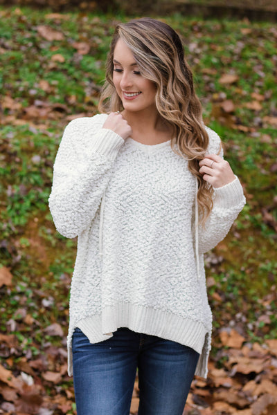 Cute Popcorn Hoodie- Ivory Popcorn Sweater- $42- Juliana's Boutique