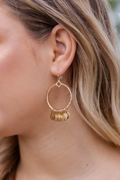Worn Gold Hoop Earrings- Gold Charm Hoop Earrings- $12