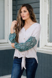 Boho Green Contrast Sleeve Top- Cute Tie Top- Free People Dupe- $38