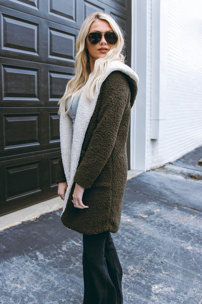 Meet Me At the Maple Tree Sherpa Jacket-Olive