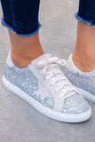 Women's Silver Star Glitter Sneakers- Women's Designer Dupe Tennis Shoes- $34