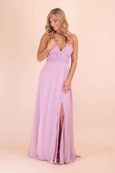 Formal Lavender Maxi Dress- Lace Cocktail Maxi Dress- $50- Juliana's Boutique