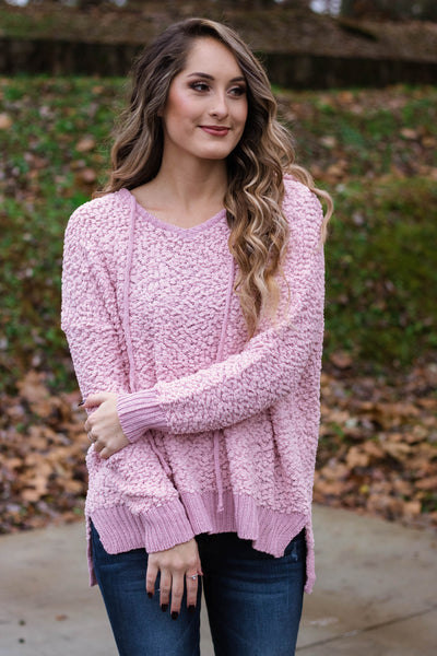 Cute Popcorn Hoodie- Bubblegum Pink Popcorn Sweater- $42- Juliana's Boutique
