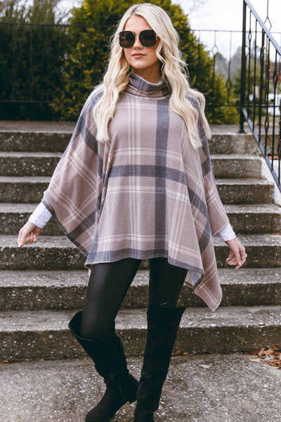 Women's Plaid Poncho- Brushed Cashmere Poncho- $34