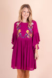 Cute Embroidered Tunic- Plum Purple Dress- $40- Women's Cute And Affordable Online Boutique