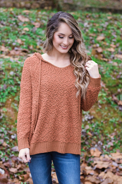 Cute Popcorn Hoodie- Rust Orange Popcorn Sweater- $42- Juliana's Boutique