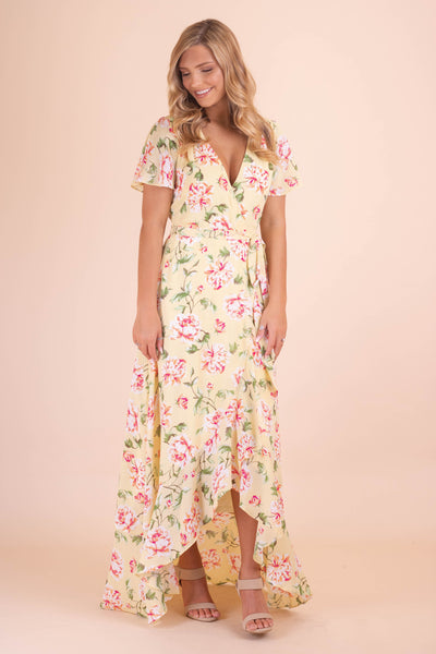 Beautiful Yellow Maxi Dress- Women's Floral Print Maxi Dress- $48- Juliana's Boutique