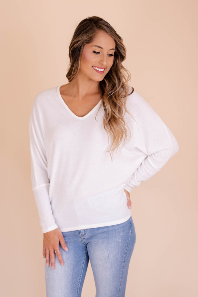 Women's Dolman Style Top- Women's White Brushed Fabric Top- $28