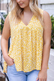 Yellow  Printed Floral Top- Sleeveless Mustard Blouse- Women's Cute Summer Outfit- $36