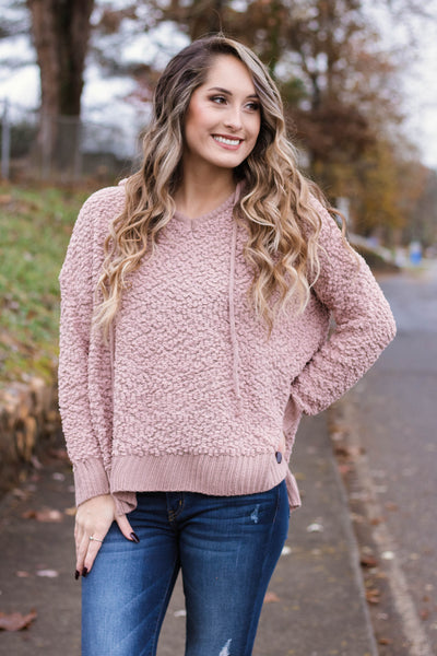 Cute Popcorn Hoodie- Mauve Popcorn Sweater- $42- Juliana's Boutique