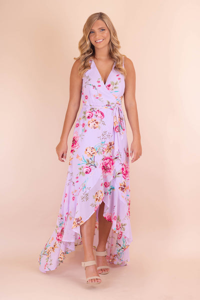 Beautiful Lavender Maxi Dress- Women's Floral Print Maxi Dress- $48- Juliana's Boutique