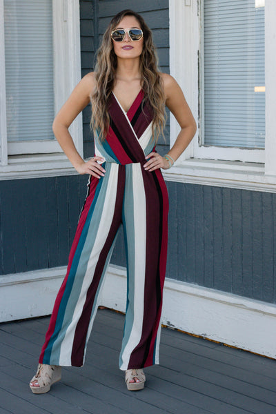 Fun Striped Jumpsuit- Colorful Fall Jumpsuit- Women's Trendy Jumpsuit- $45- Juliana's Boutique