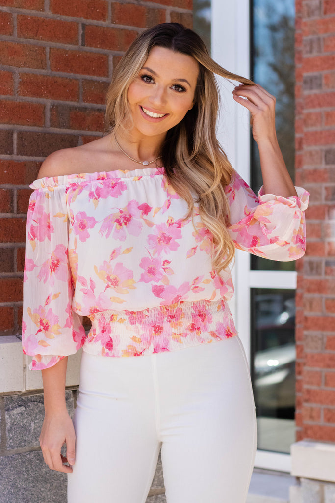 Pink And Yellow Floral Blouse- Cropped Off The Shoulder Top- Cute Vacation Outfit 2020- $38