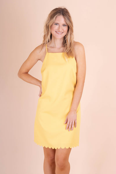 Yellow Scallop Dress- Cute Dress With Scallops- $42- Affordable Online Boutique