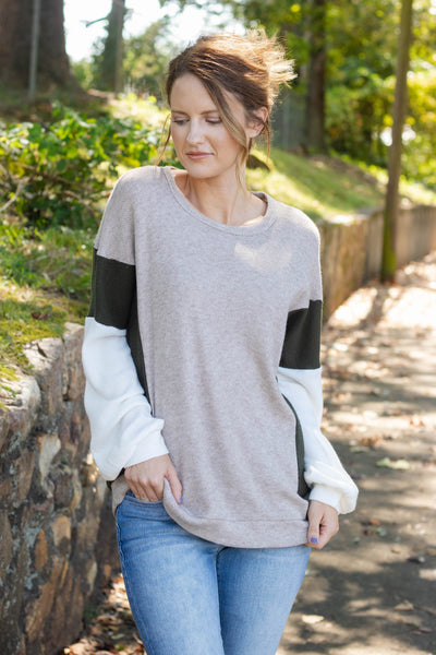 Women's Color Block Waffle Top- Cute Waffle Knit Fall Top- $36