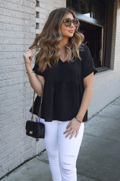 Women's Black Babydoll Blouse- Women's V-Neck Blouse- $32