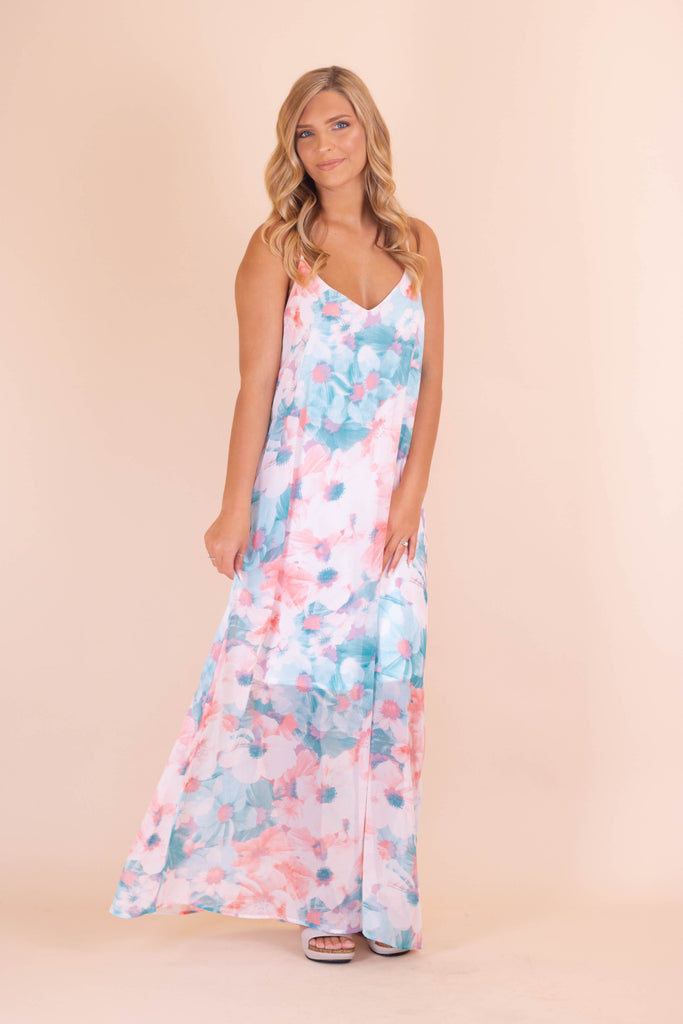 Pastel Watercolor Maxi Dress- Women's Floral Print Maxi Dress- $45- Juliana's Boutique