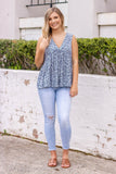 Navy Printed Floral Top- Sleeveless Navy Blouse- Women's Cute Summer Outfit- $36