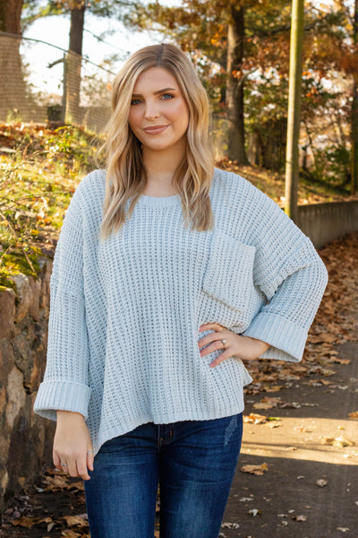 Oversized Chenille Knit Sweater- Cute Boxy Baby Blue Sweater- $44