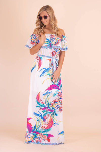 Tropical Off The Shoulder Maxi Dress- Women's Summer Maxi Dress- $44- Juliana's Boutique