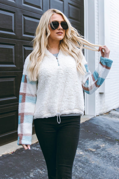 Women's Sherpa Pullover- Plaid Sherpa Pullover- $44
